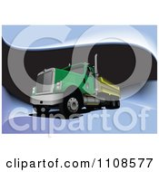 Clipart Green Big Rig Truck On Waves Royalty Free Vector Illustration