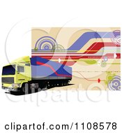 Clipart Big Rig With Gps Lines On Tan Royalty Free Vector Illustration