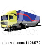 Clipart Yellow And Blue Big Rig Truck Royalty Free Vector Illustration