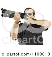 Clipart Police Officer Shooting Royalty Free Vector Illustration