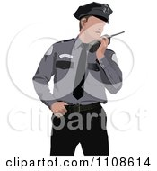 Clipart Police Officer Talking Into A Walkie Talkie Royalty Free Vector Illustration