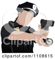 Clipart Police Woman Shooting Royalty Free Vector Illustration