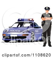 Clipart Police Officer By His Cop Car 2 Royalty Free Vector Illustration