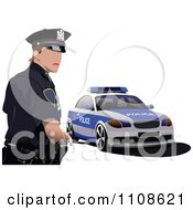 Clipart Police Officer By His Cop Car 3 Royalty Free Vector Illustration