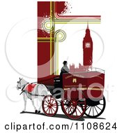 Clipart London Horse Drawn Carriage Cab And Big Ben With Grunge 1 Royalty Free Vector Illustration by leonid