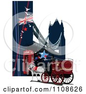 Clipart London Horse Drawn Carriage Cab With Tower Bridge And Phone Booth Royalty Free Vector Illustration by leonid