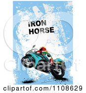 Clipart Biker On A Motorcycle Under Iron Horse Text On Blue Grunge Royalty Free Vector Illustration
