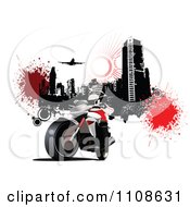 Clipart Biker On A Motorcycle Under A Grungy City With An Airplane On White Royalty Free Vector Illustration