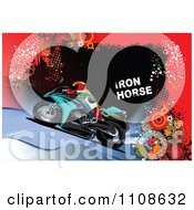 Clipart Biker On A Motorcycle Under Iron Horse Text On Grunge Royalty Free Vector Illustration