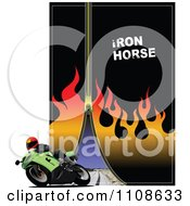 Clipart Motorcycle Driver With A Zipper Flames And Road Royalty Free Vector Illustration