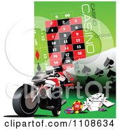 Clipart Biker On A Motorcycle With Casino Games On Green And White Royalty Free Vector Illustration