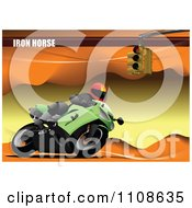 Clipart Biker On A Motorcycle Under Iron Horse Text On Orange Royalty Free Vector Illustration