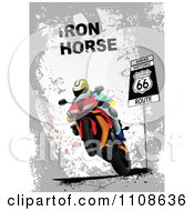 Clipart Biker On A Motorcycle Under Iron Horse Text On Gray Grunge On Route 66 Royalty Free Vector Illustration