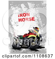 Clipart Biker On A Motorcycle Under Iron Horse Text On Gray Grunge Royalty Free Vector Illustration