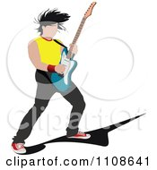Clipart Rock Musician Man Playing An Electric Guitar 1 Royalty Free Vector Illustration