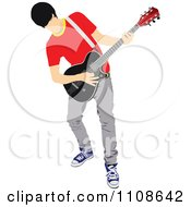 Clipart Rock Musician Man Playing An Electric Guitar 2 Royalty Free Vector Illustration