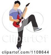 Clipart Rock Musician Man Playing An Electric Guitar 3 Royalty Free Vector Illustration