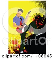 Clipart Rock Musician Man Playing An Electric Guitar 4 Royalty Free Vector Illustration