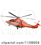 Clipart Flying Orange Helicopter Royalty Free Vector Illustration