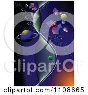 Clipart Fantasy Galaxy With Cubes Royalty Free Vector Illustration