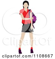 Clipart Female College Student With A Backpack Royalty Free Vector Illustration