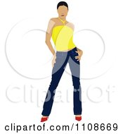 Clipart Attractive Woman Posing In Jeans Heels And A Yellow Top Royalty Free Vector Illustration by leonid