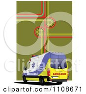 Clipart First Aid Paramedic Ambulace With Gps Lines Over Green Royalty Free Vector Illustration
