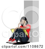 Clipart Female College Student Talking On Her Cell Phone And Seated With A Book Royalty Free Vector Illustration