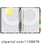 Clipart Notebook With Graph Paper A Pencil Note And Organizer Labels Royalty Free Vector Illustration by leonid