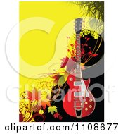 Clipart Red Electric Guitar Over Autumn Grunge Royalty Free Vector Illustration