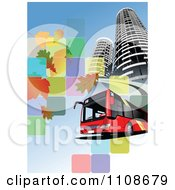 Clipart Red City Bus And Towers Over Tiles With Leaves On Blue Royalty Free Vector Illustration by leonid
