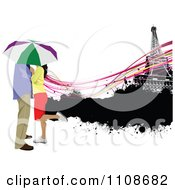 Clipart Honeymooning Couple Kissing Under An Umbrella In Paris Royalty Free Vector Illustration