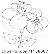 Clipart Outlined Bee Resting On A Flower Royalty Free Vector Illustration by djart