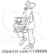 Clipart Outlined Geeky Man Supporting A Stack Of Books On His Knee Royalty Free Vector Illustration by djart