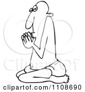 Outlined Swami Man Kneeling In Prayer