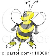 Clipart Angry Bee Ready To Attack With A Stinger Royalty Free Vector Illustration