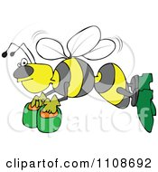 Clipart Angry Bee Flying With Honey Buckets Royalty Free Vector Illustration