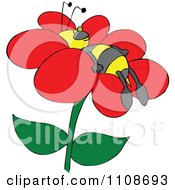 Clipart Bee Resting On A Flower Royalty Free Vector Illustration by djart