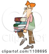 Geeky Man Supporting A Stack Of Books On His Knee