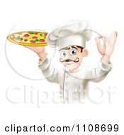 Clipart Chef Holding Up A Pizza Pie And Gesturing Ok Royalty Free Vector Illustration