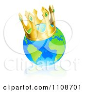 Clipart Champion Globe Wearing A Kings Crown Royalty Free Vector Illustration