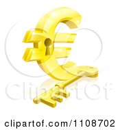 Clipart 3d Golden Euro Symbol Padlock And Skeleton Key Royalty Free Vector Illustration by AtStockIllustration