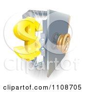 Poster, Art Print Of 3d Golden Dollar Symbol And An Open Safe With Light