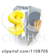 Clipart 3d Golden Dollar Symbol And An Open Safe With Light Royalty Free Vector Illustration by AtStockIllustration