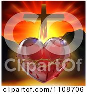 Clipart 3d Sacred Heart With Fire Thorns Mountains And A Cross Royalty Free Vector Illustration