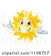 Clipart Happy Welcoming Sun Character Smiling Royalty Free Vector Illustration