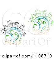 Clipart Pairs Of Hands Holding Globes Skyscrapers Royalty Free Vector Illustration