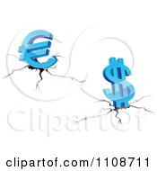 Clipart 3d Blue Dollar And Euro Symbols Over A Fissure Royalty Free Vector Illustration