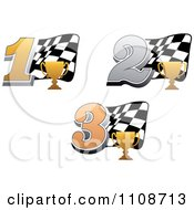 Clipart Gold Trophy Cups Number 1 2 And 3 And Checkered Motor Sports Racing Flags Royalty Free Vector Illustration