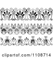 Clipart Black And Whtie Art Deco Border Design Elements 3 Royalty Free Vector Illustration
